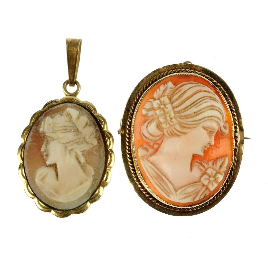 Five cameo pieces. To include a shell cameo pendant