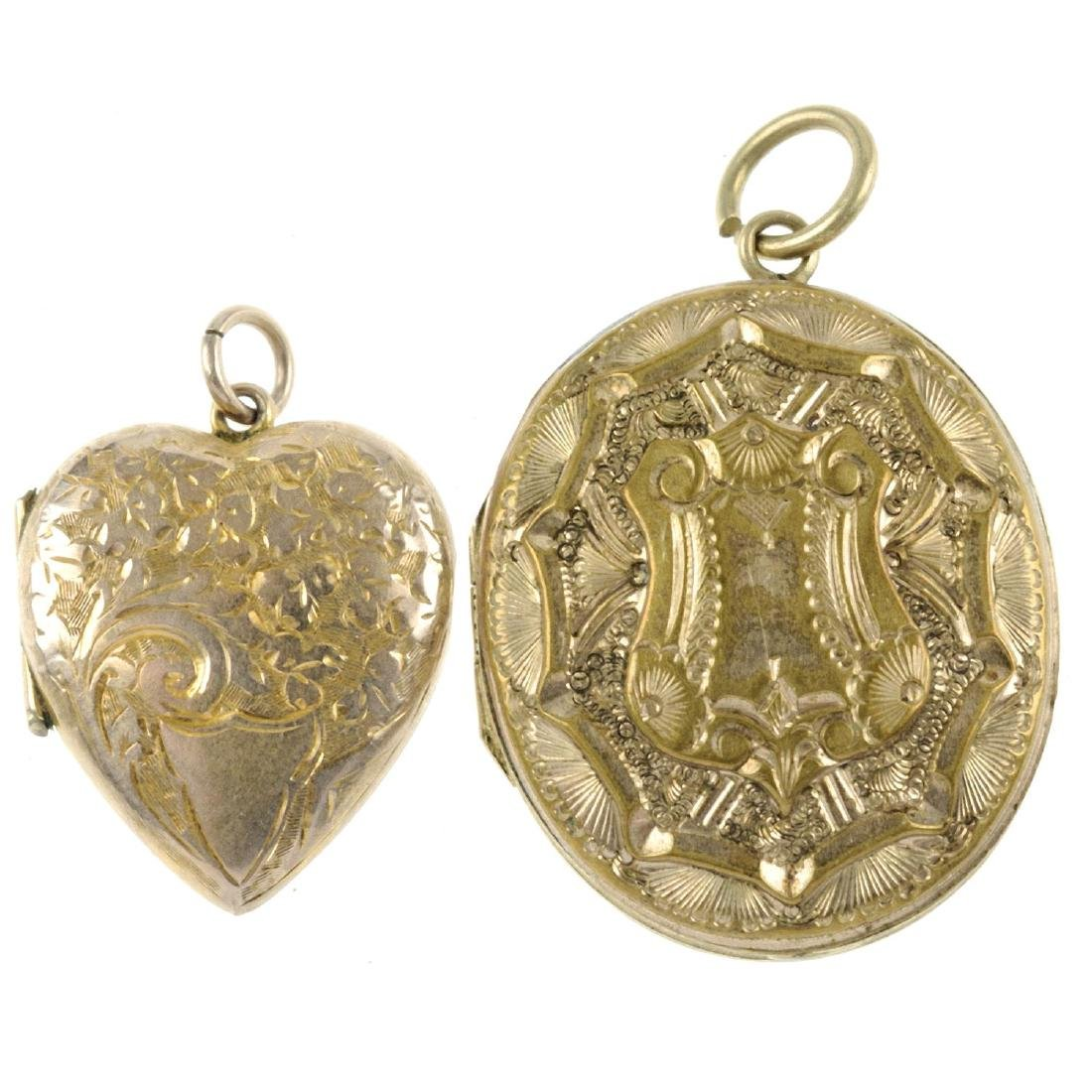 Seventeen mainly rolled gold lockets. To include nine