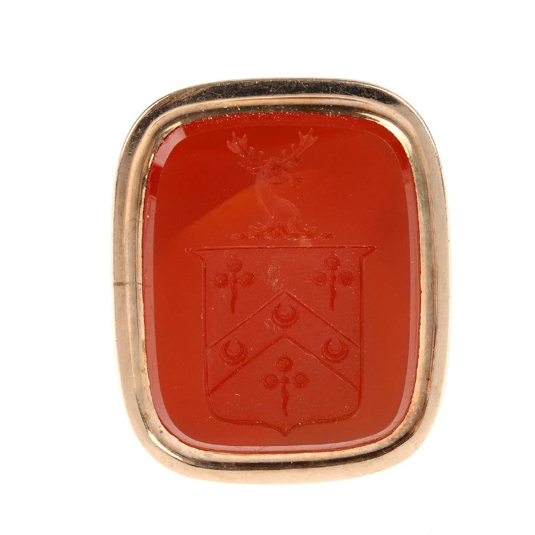 A carved carnelian fob. The rectangular carnelian with - 3