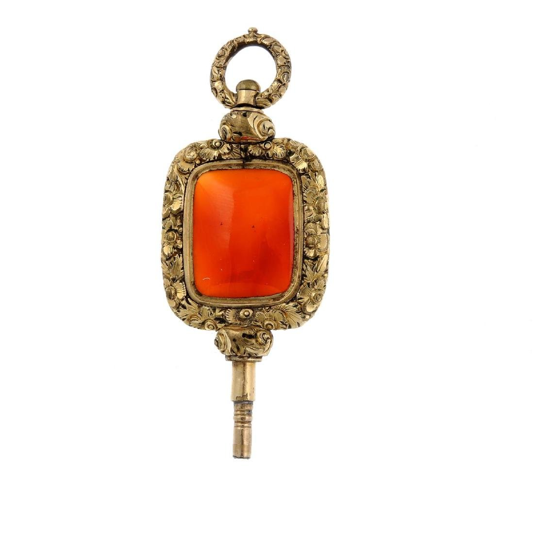 An early 19th century carnelian watch key. The
