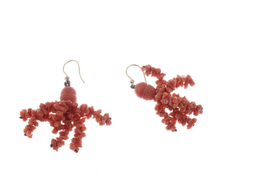 A pair of coral earrings. Designed as ear hooks, with - 2