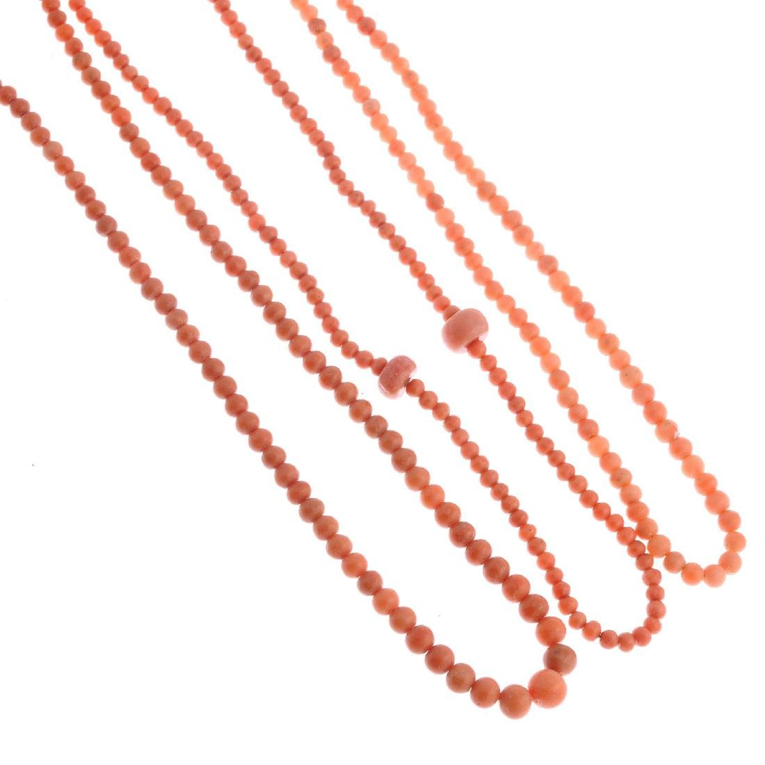 Three coral bead necklaces. The first comprising a row