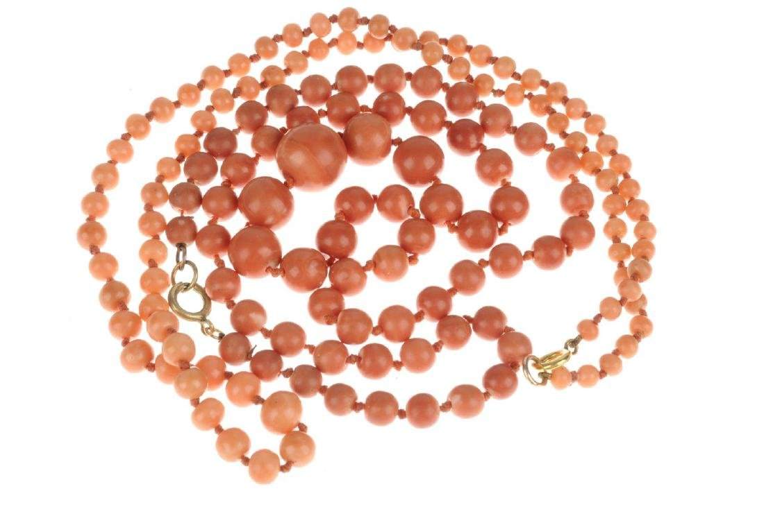 Two coral bead necklaces. Both designed as single - 2