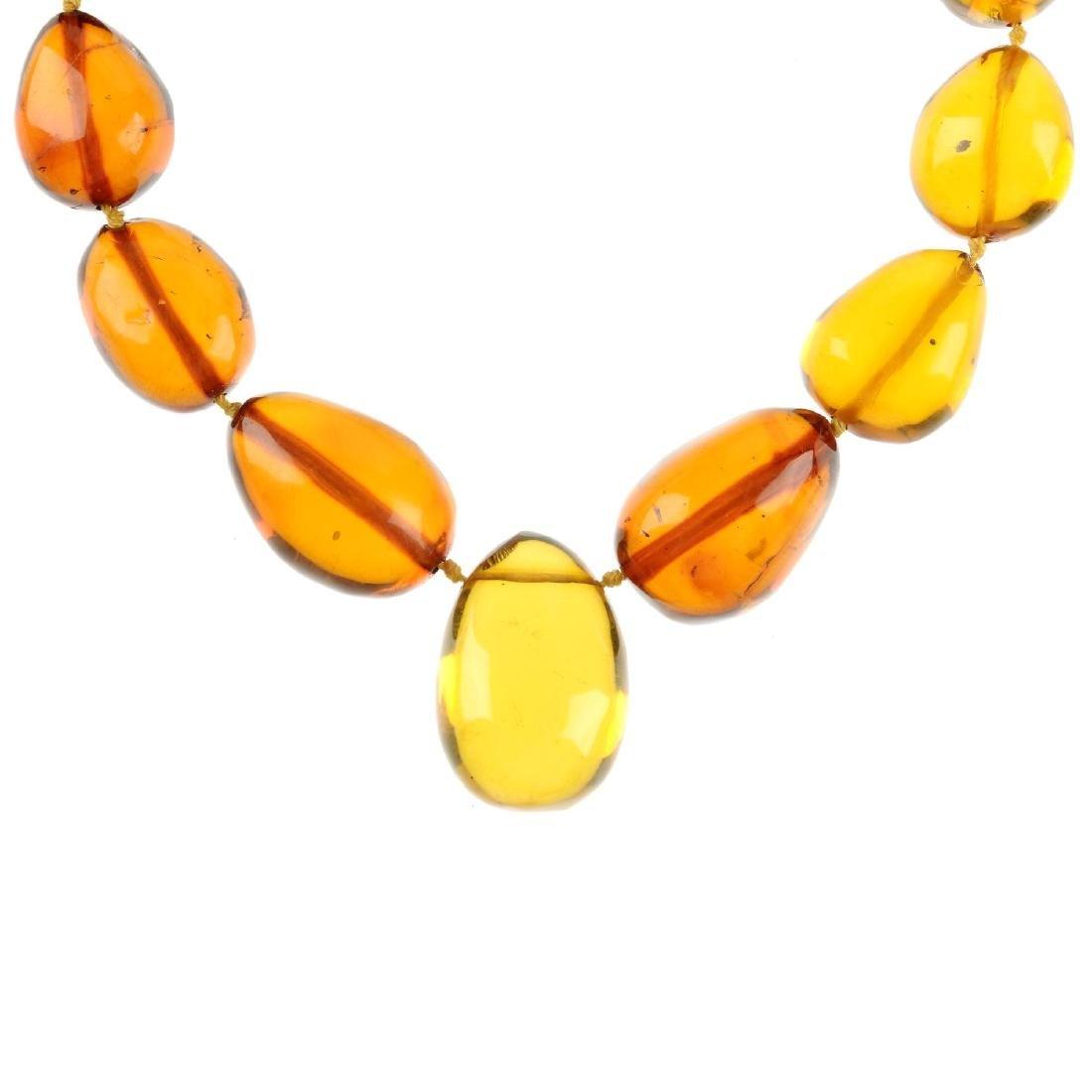 A natural amber necklace. Comprising twenty-nine