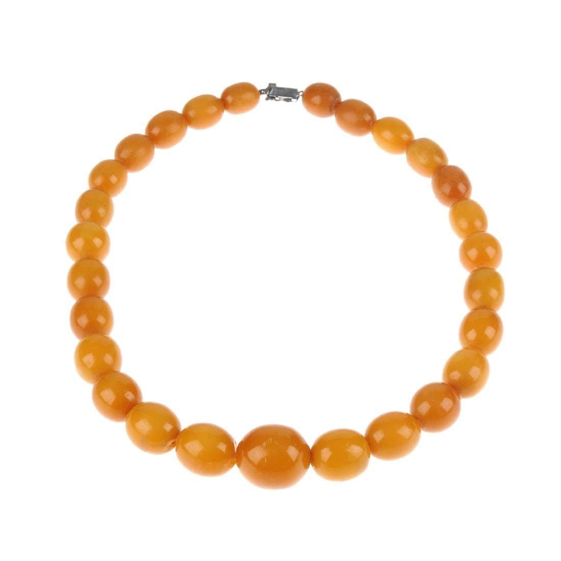 A natural Baltic amber necklace. Designed as a row of