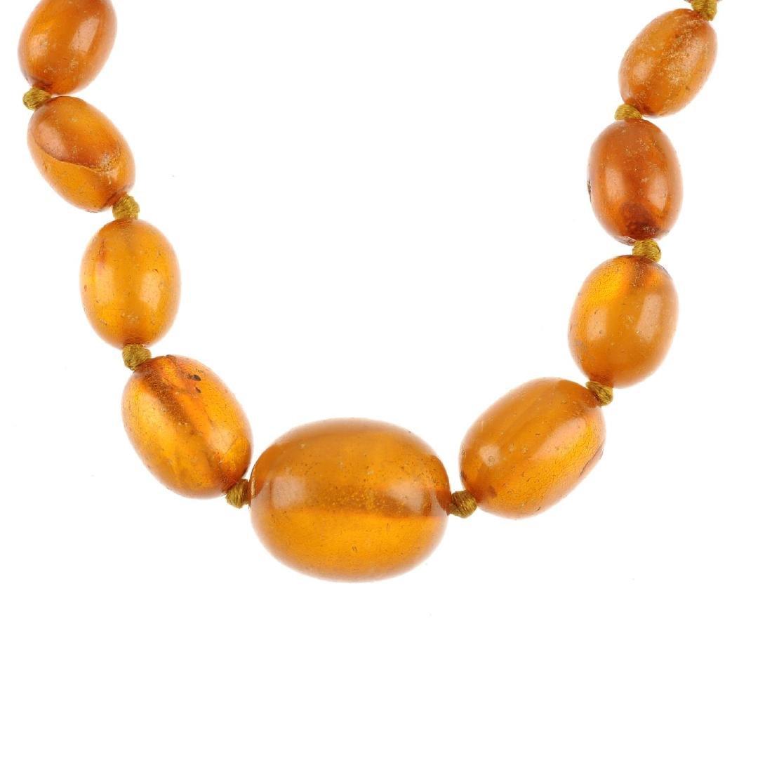A natural amber necklace. Comprising twenty-five