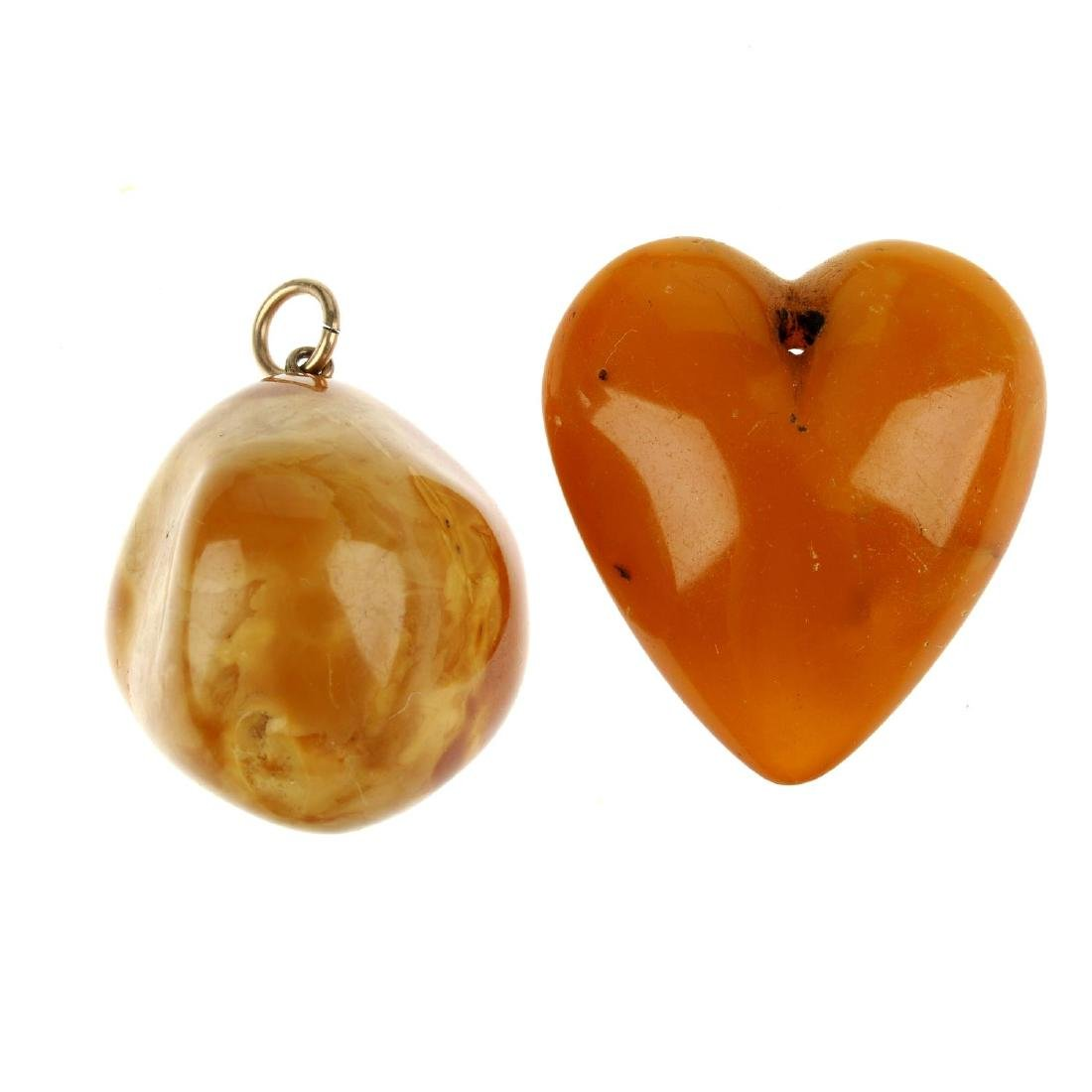 A selection of amber jewellery. To include two natural
