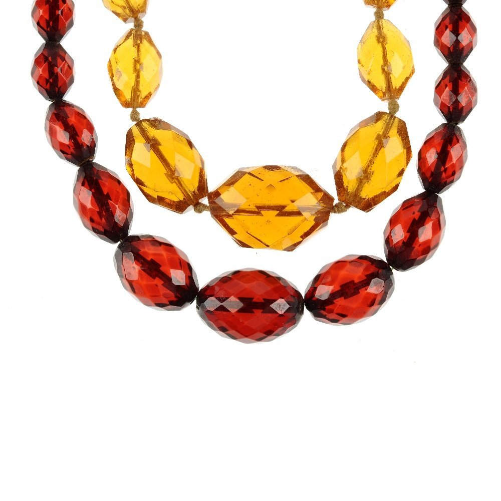 Two bead necklaces. The first of yellow colour faceted