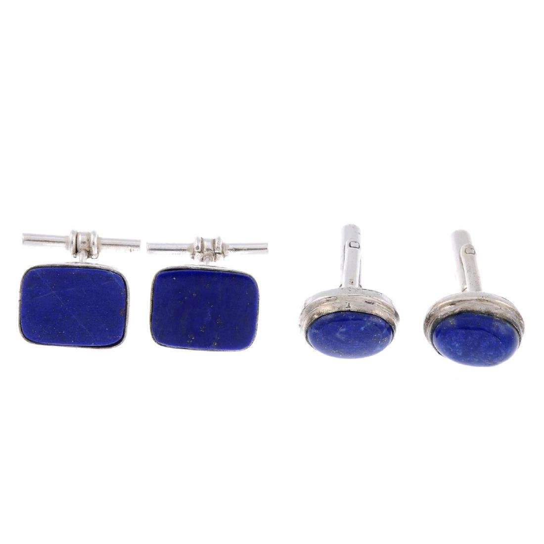 Two pairs of treated lapis lazuli cufflinks. To include