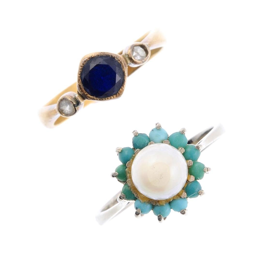 A pearl and turquoise ring and a sapphire and diamond