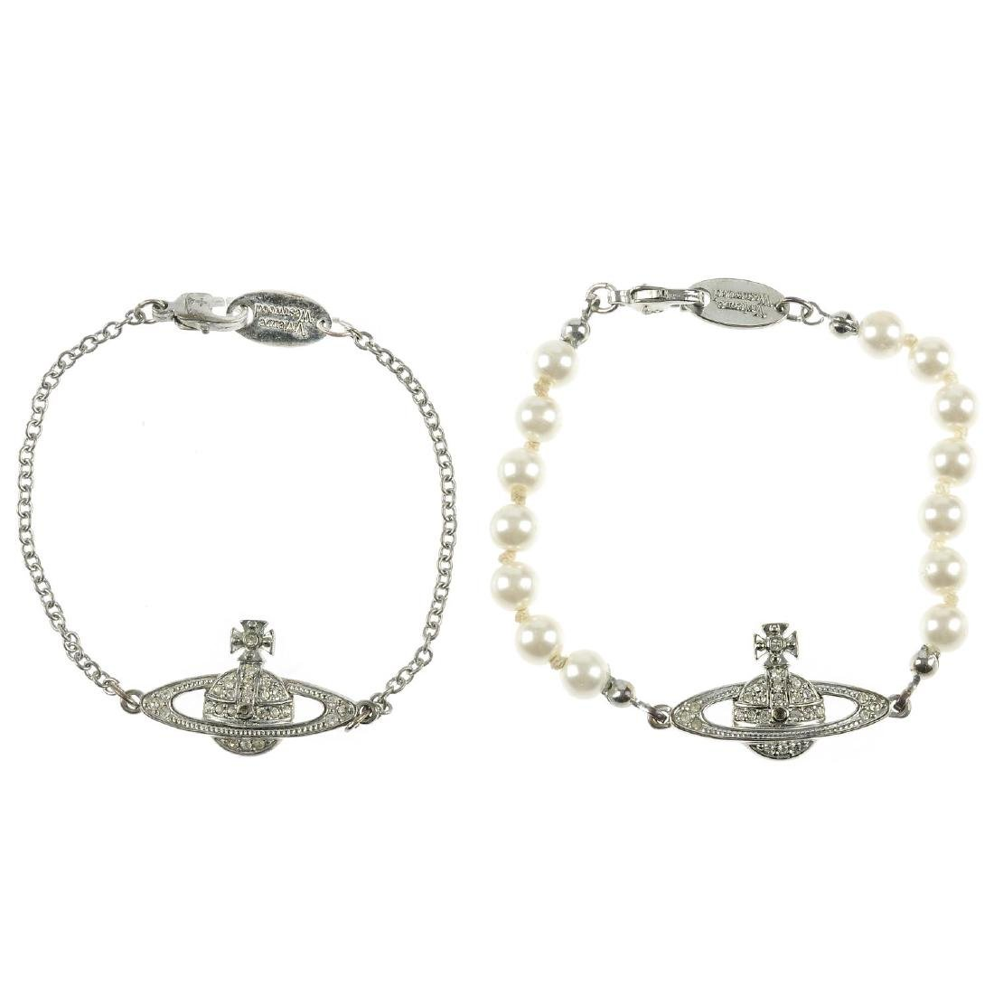 VIVIENNE WESTWOOD - two bracelets. The first a row of