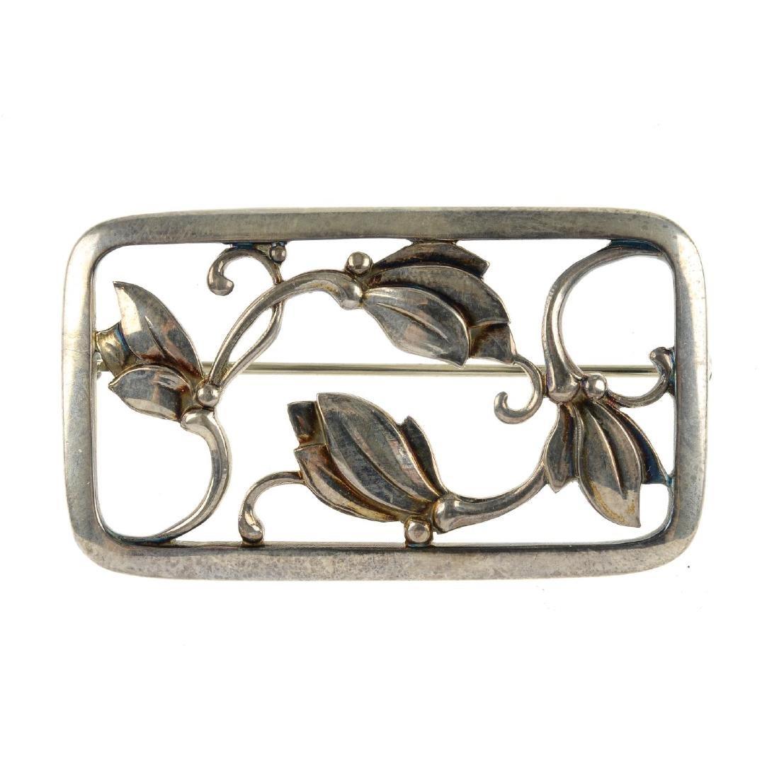 GEORG JENSEN - a brooch. Of rectangular outline, the