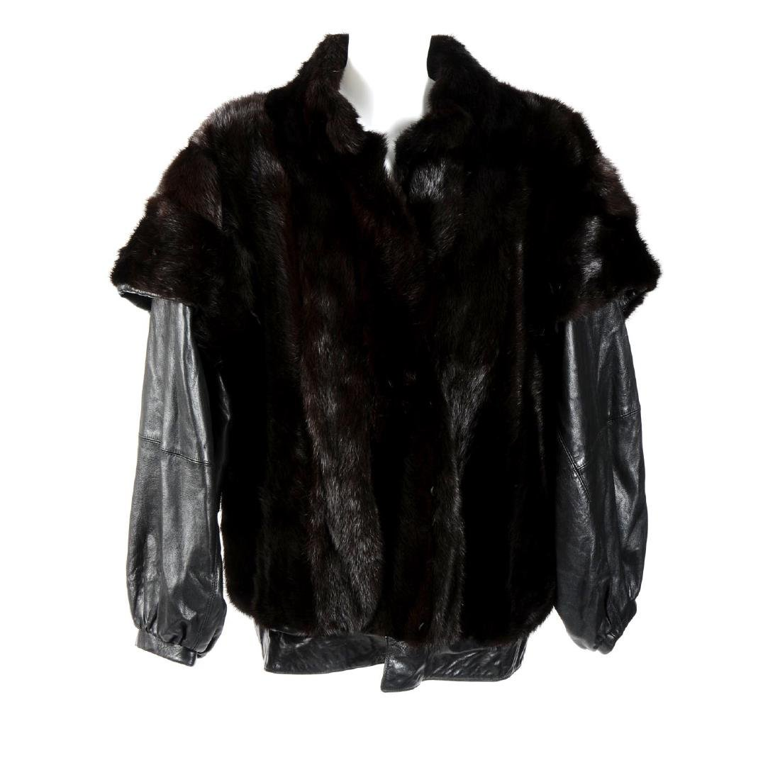 A mink and leather jacket. Designed in a blouson jacket