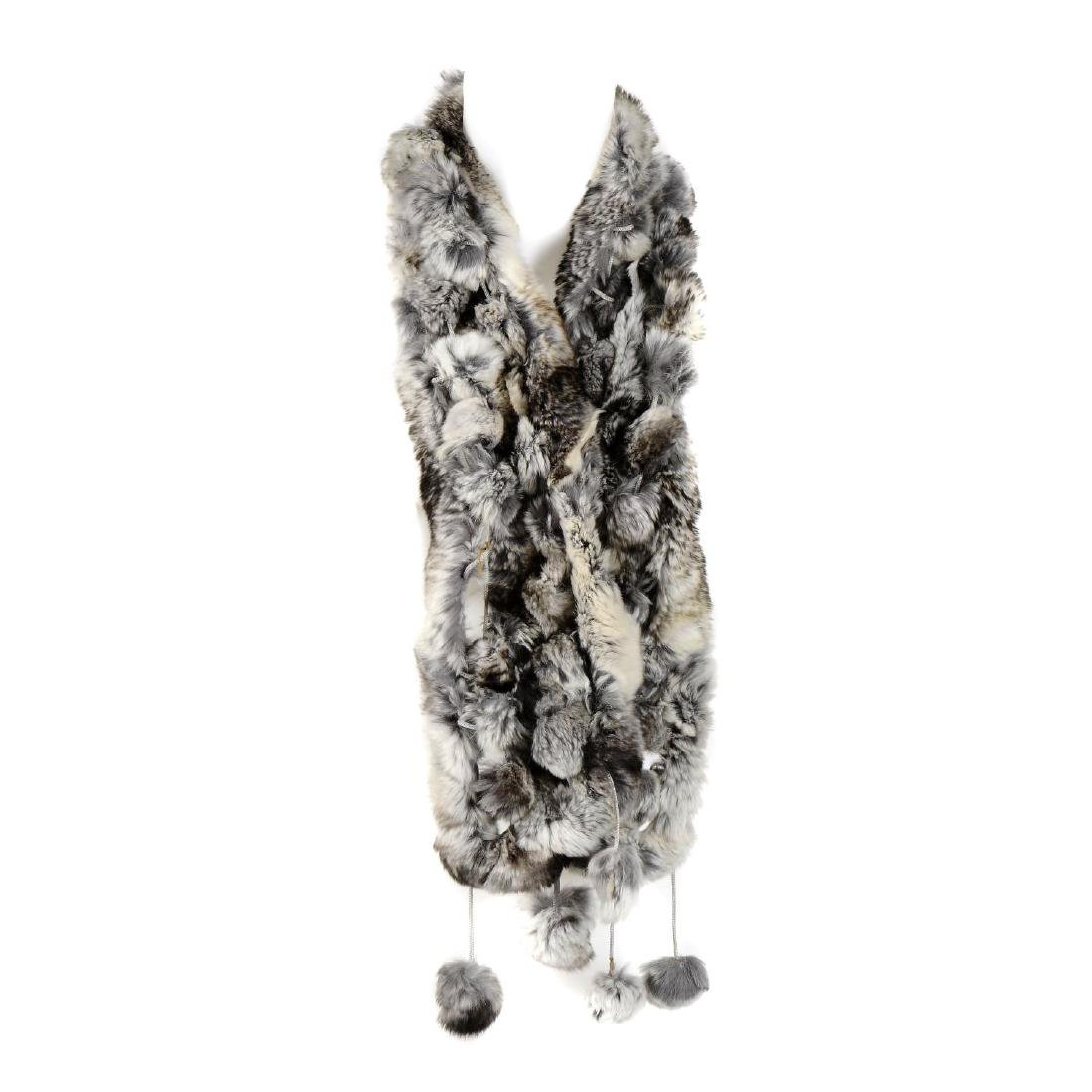 Six coney fur scarves. To include five pom-pom style