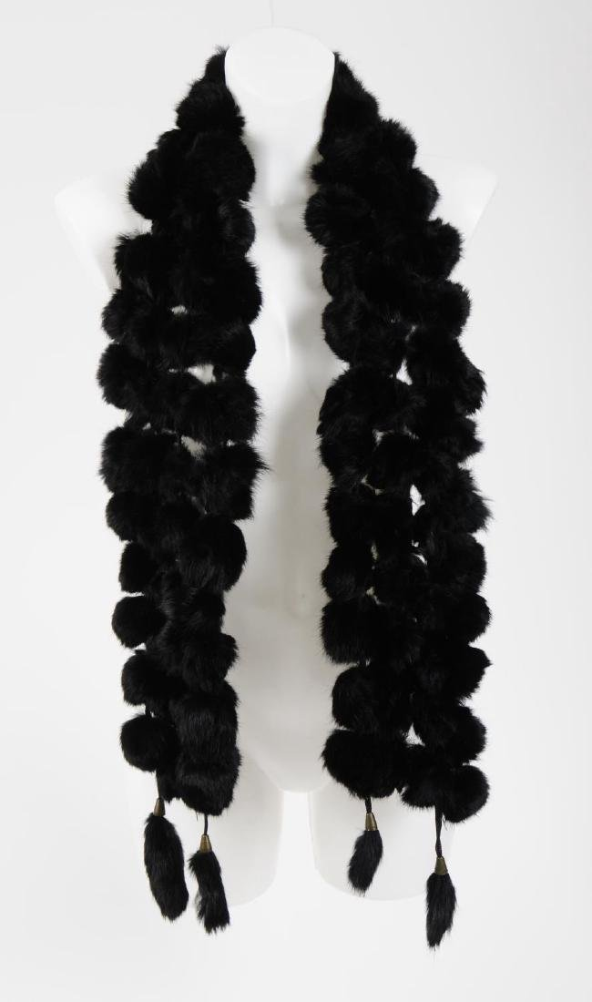 Six coney fur scarves. To include five pom-pom style - 3