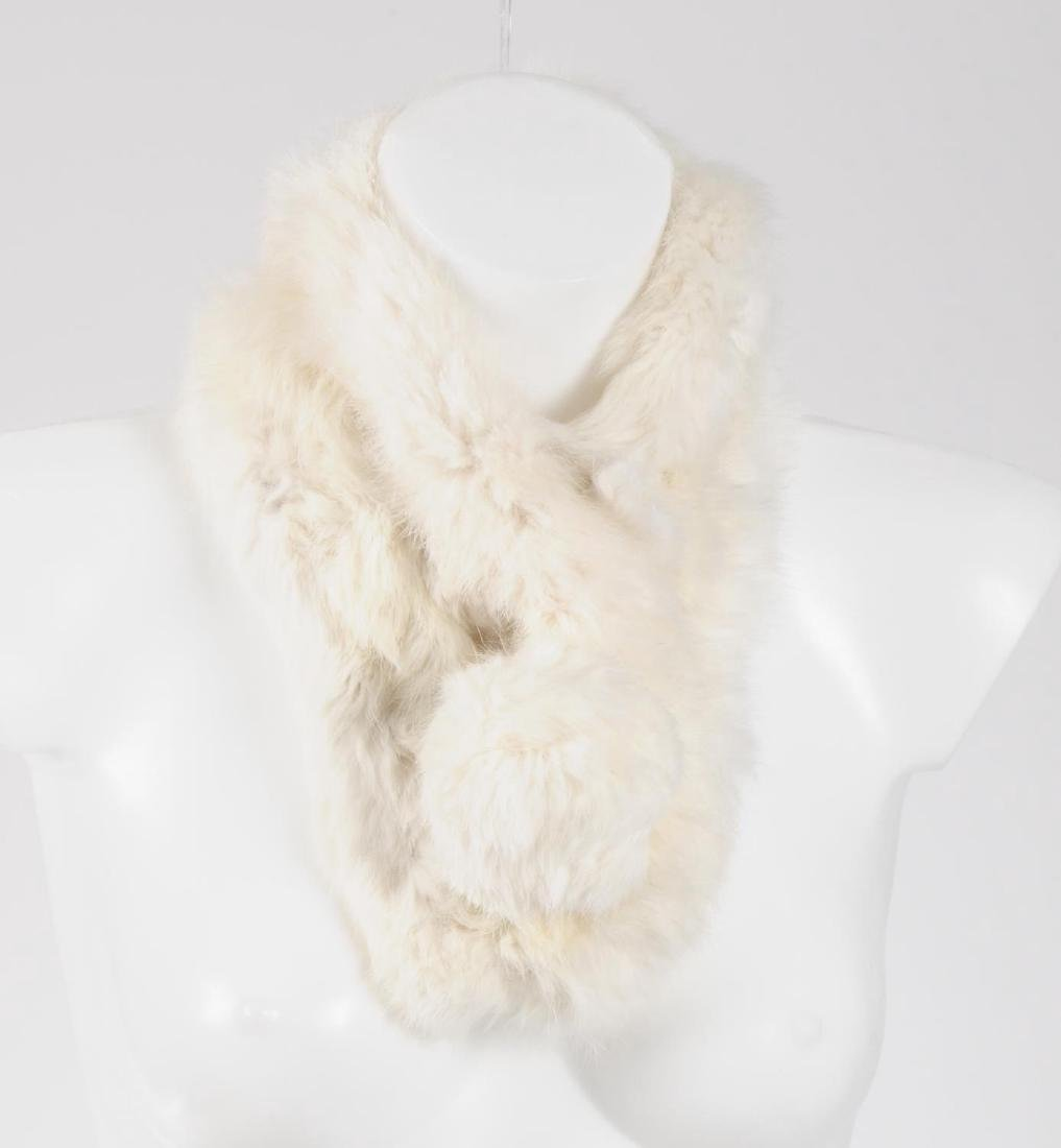 Six coney fur scarves. To include five pom-pom style - 4