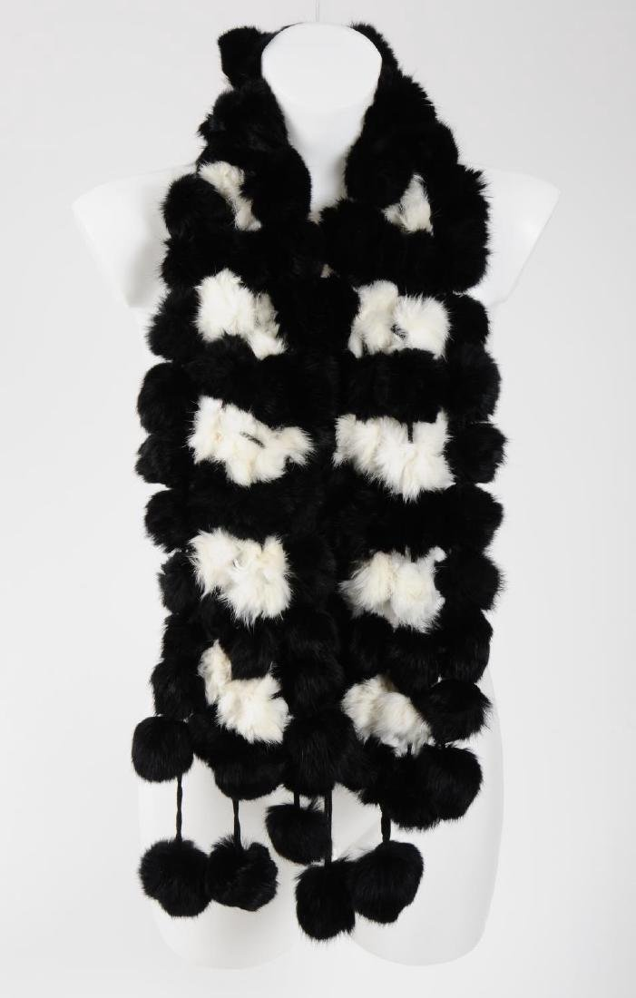 Six coney fur scarves. To include five pom-pom style - 6