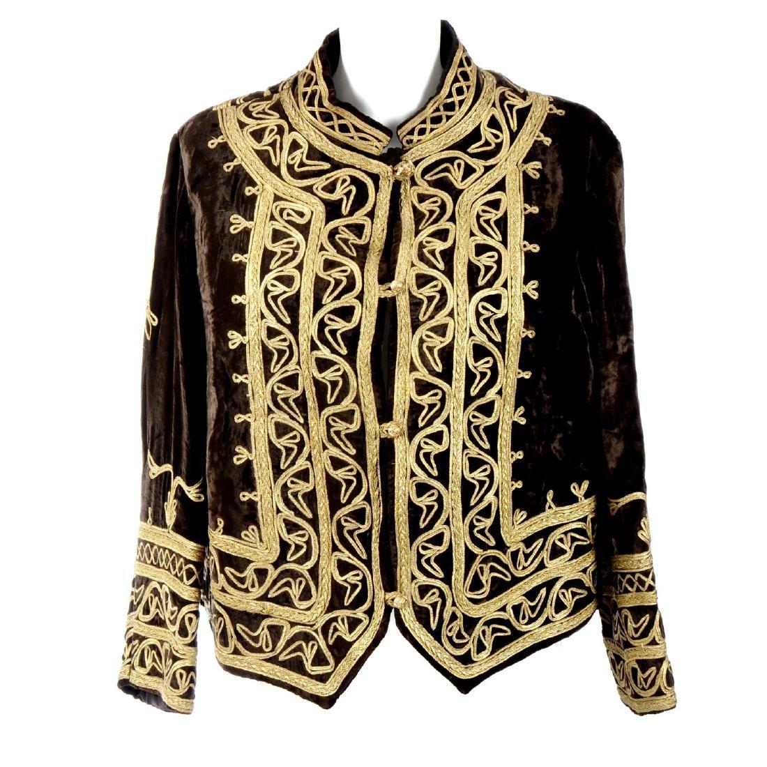 A brown velvet jacket. Designed with a brown velvet