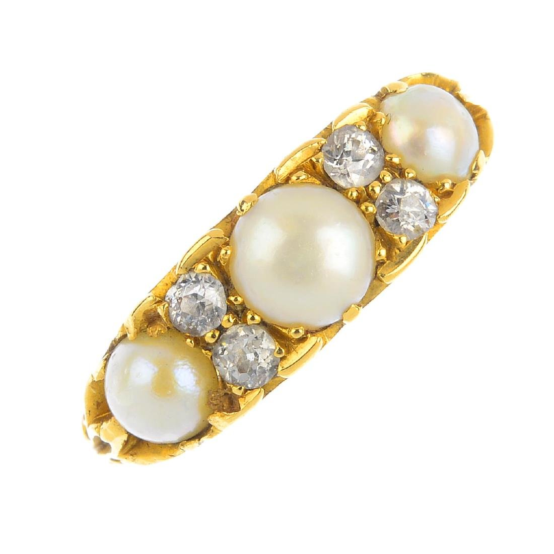 A late Victorian 18ct gold split pearl and diamond