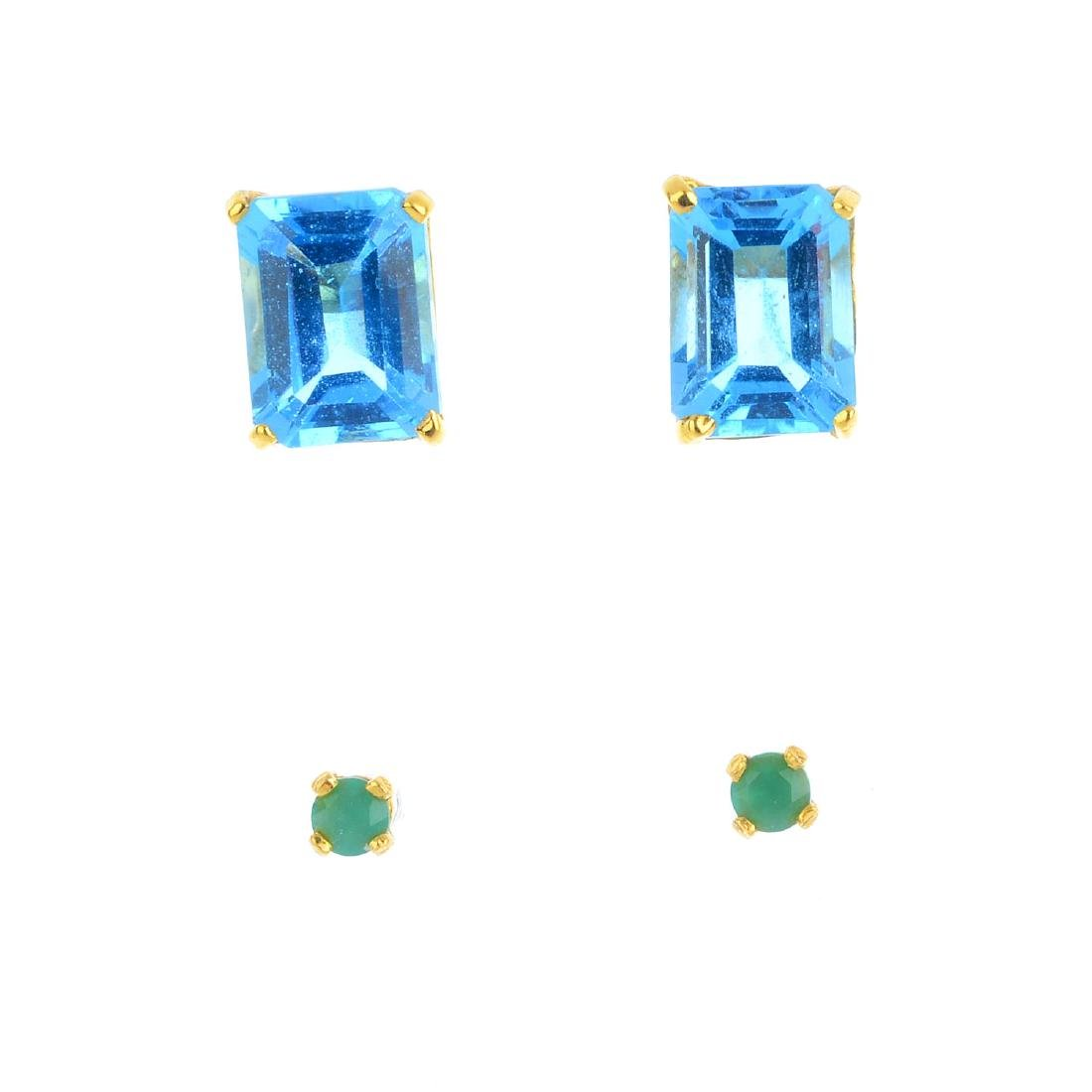 Two pairs of gem-set stud earrings. To include a pair
