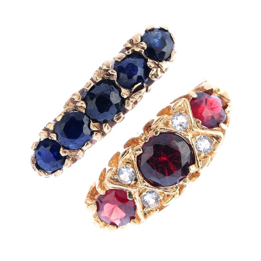 Six 9ct gold gem-set rings. To include a sapphire