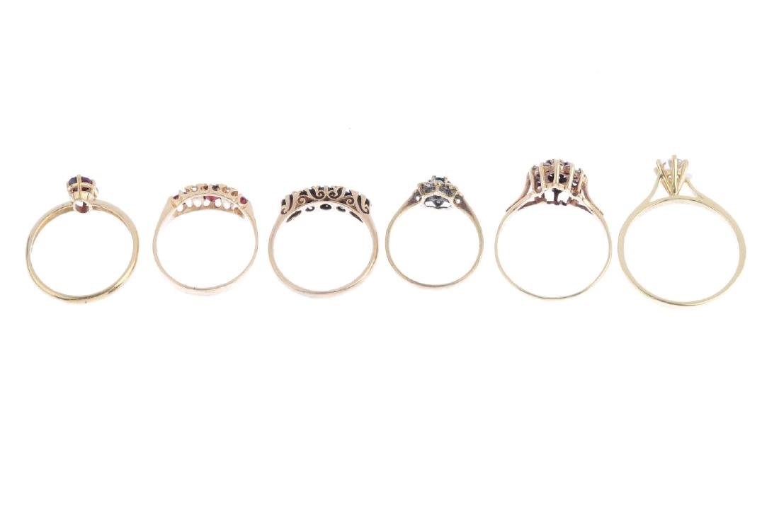 Six 9ct gold gem-set rings. To include a sapphire - 2