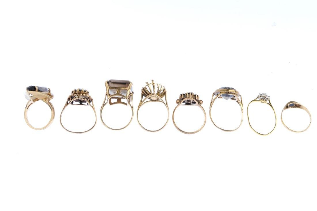 Eight gold gem-set rings. To include an 18ct gold - 2