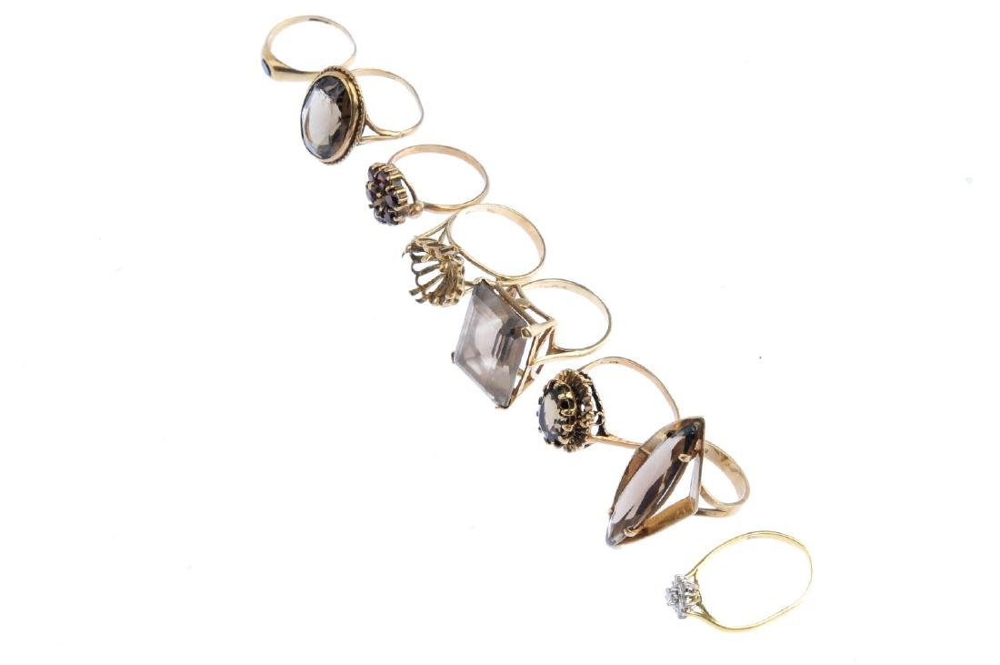 Eight gold gem-set rings. To include an 18ct gold - 4