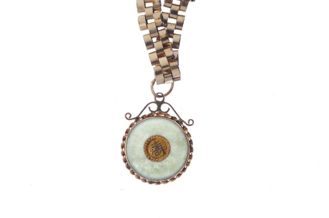 A jade bi charm bracelet. Designed as a jadeite bi, - 3