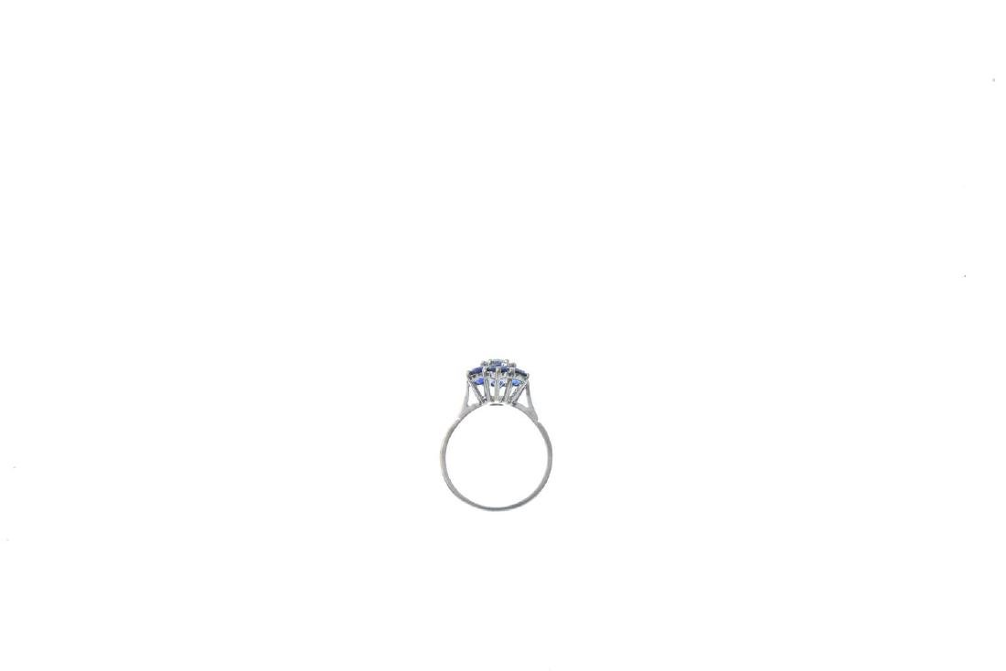 A sapphire and diamond cluster ring. The brilliant-cut - 2