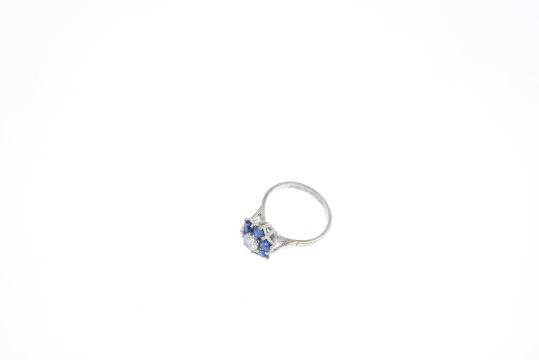 A sapphire and diamond cluster ring. The brilliant-cut - 3