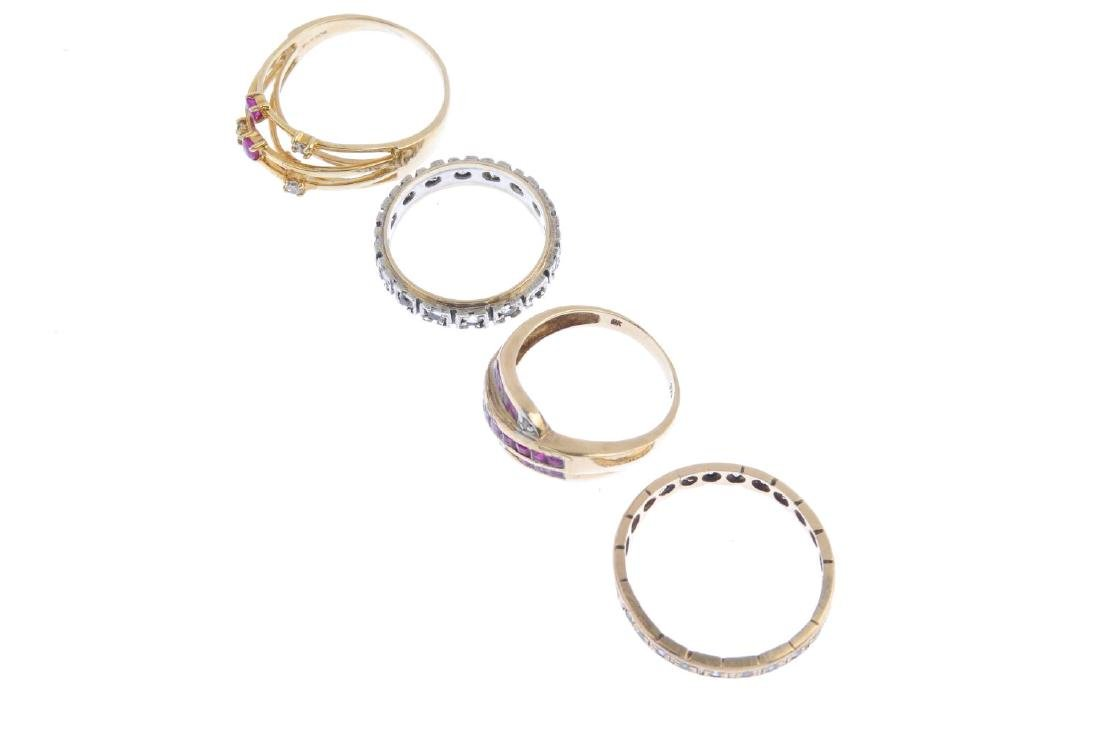 Four gem-set rings. To include a ruby and diamond dress - 2