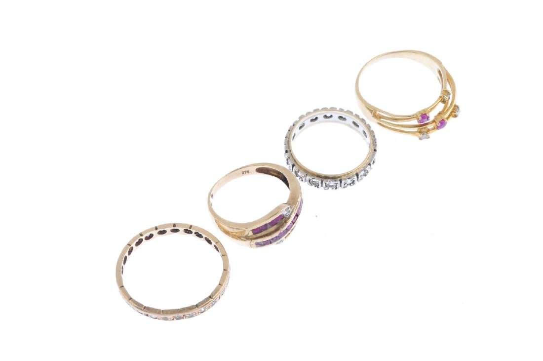 Four gem-set rings. To include a ruby and diamond dress - 3
