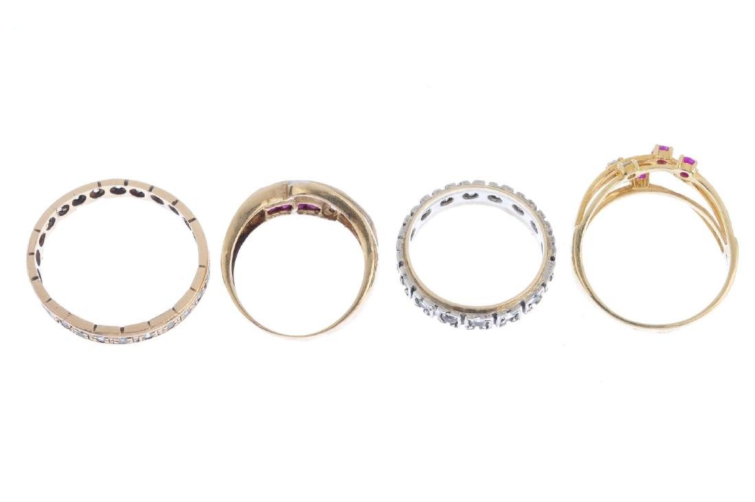 Four gem-set rings. To include a ruby and diamond dress - 4