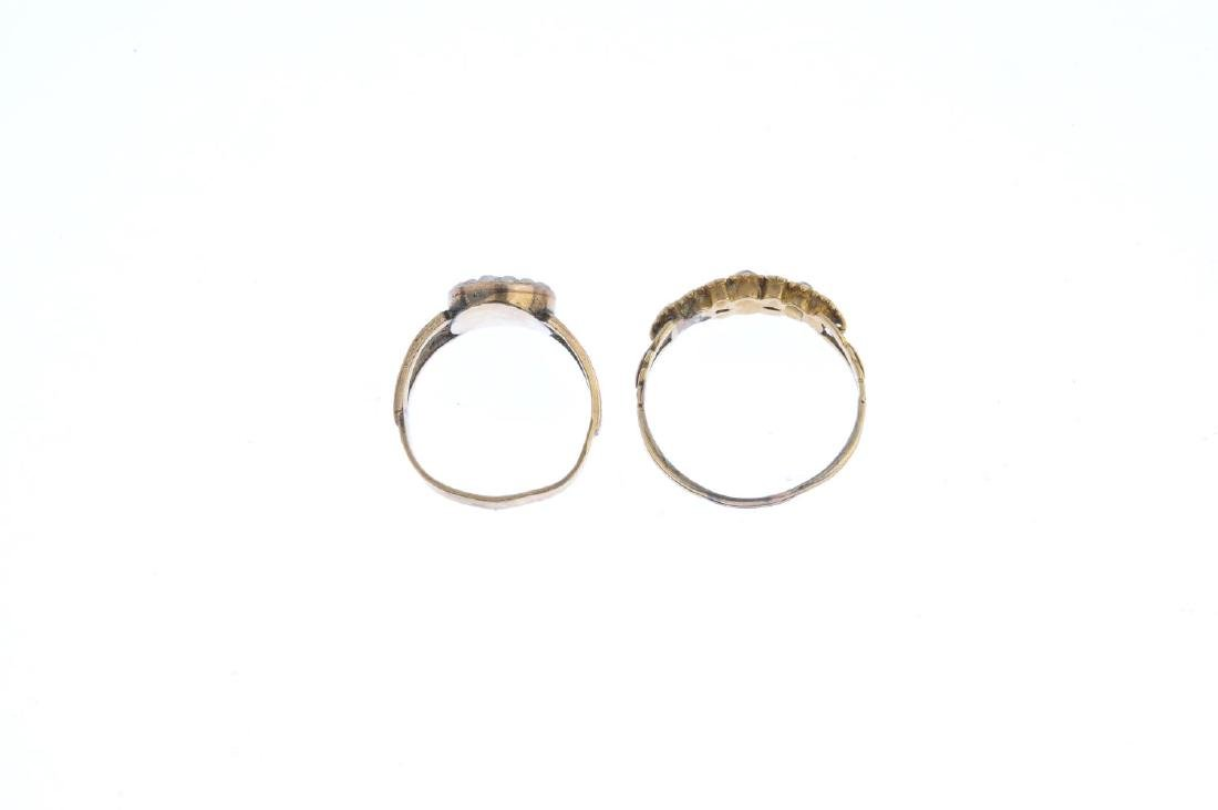 Two mid Victorian diamond and paste rings. To include - 2