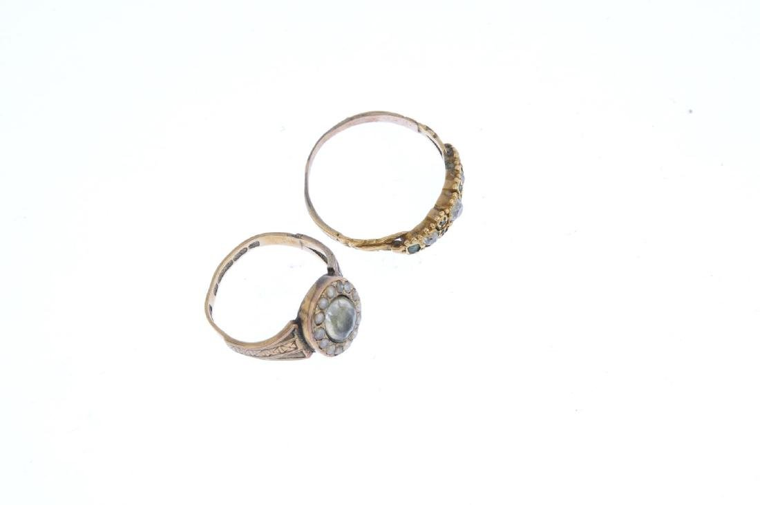 Two mid Victorian diamond and paste rings. To include - 3