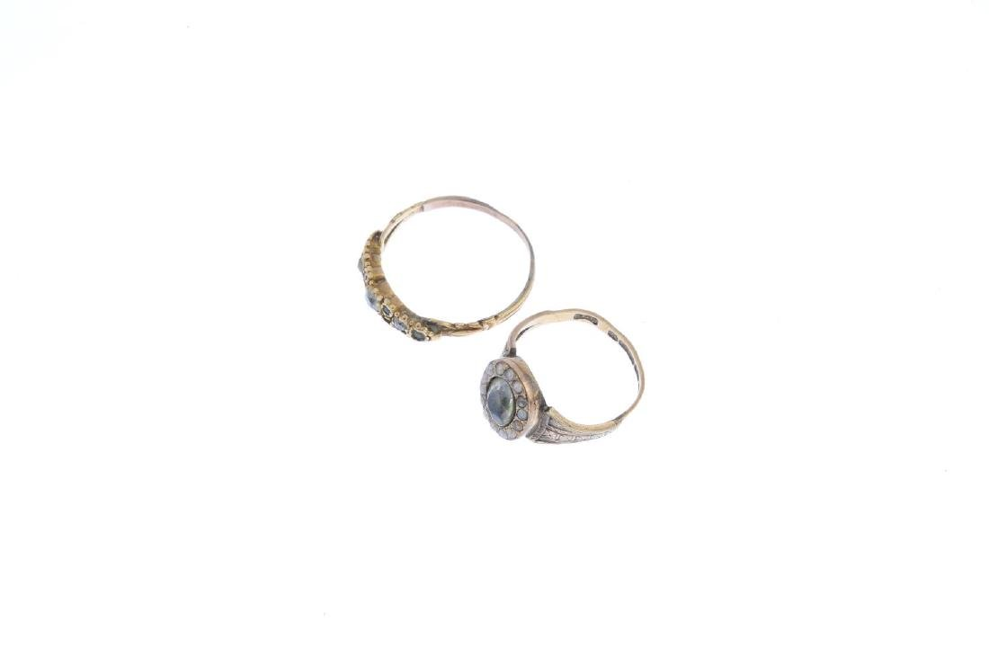 Two mid Victorian diamond and paste rings. To include - 4