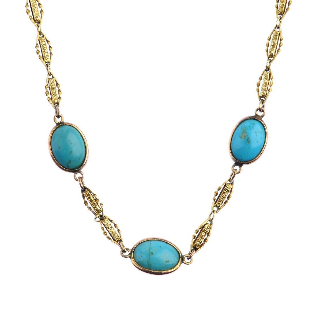A turquoise necklace. Designed as three oval turquoise