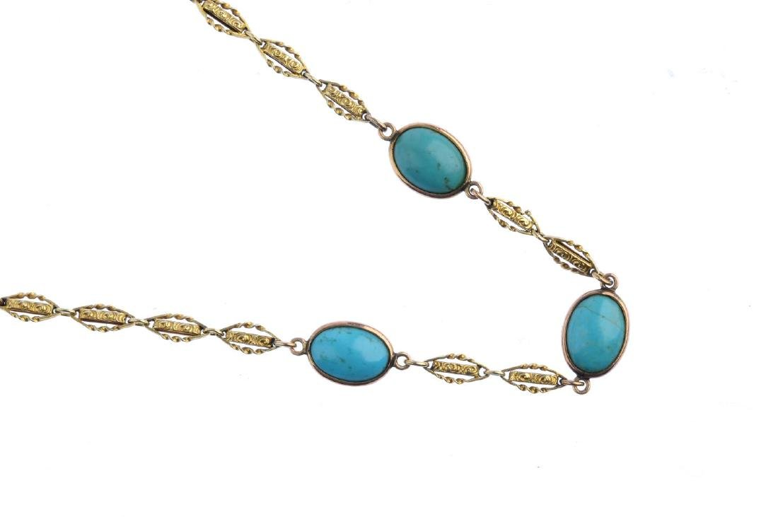 A turquoise necklace. Designed as three oval turquoise - 2