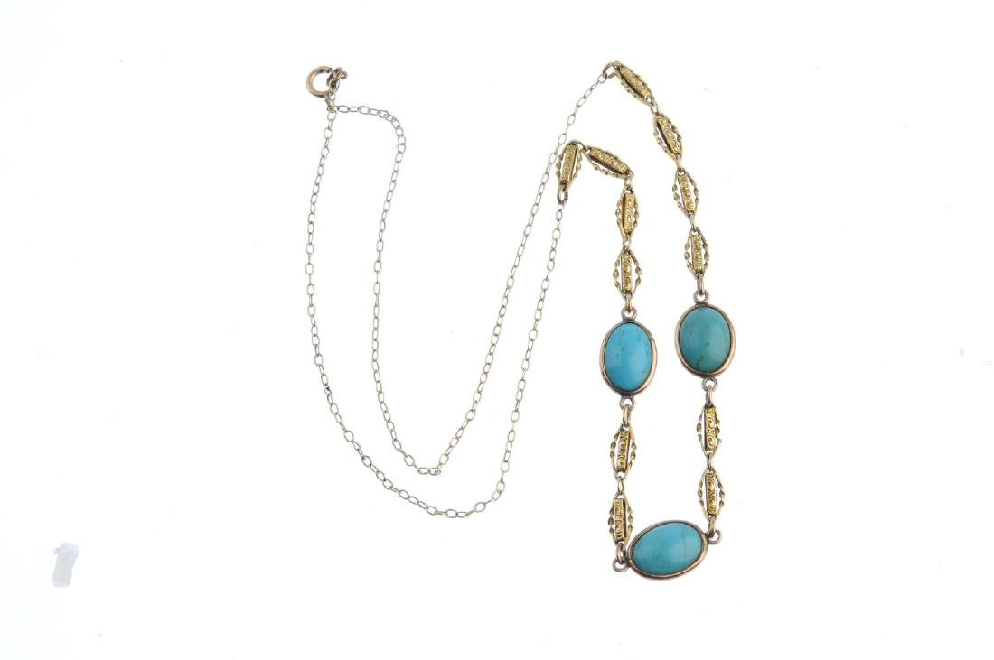 A turquoise necklace. Designed as three oval turquoise - 3