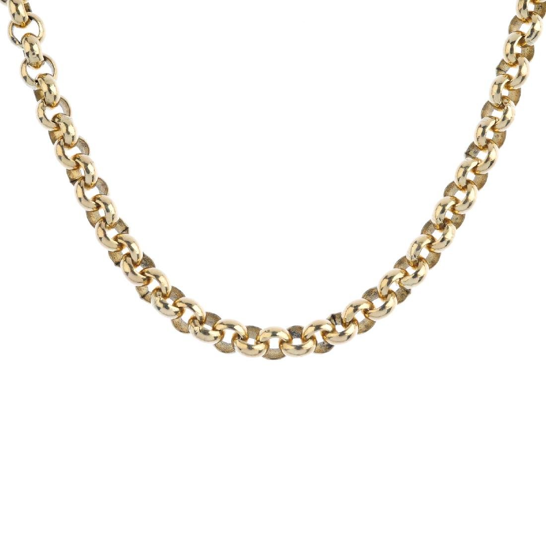 A 9ct gold necklace. Designed as a series of