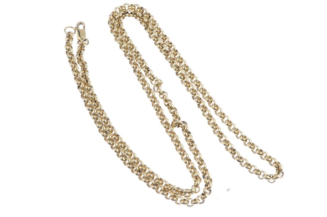 A 9ct gold necklace. Designed as a series of - 2