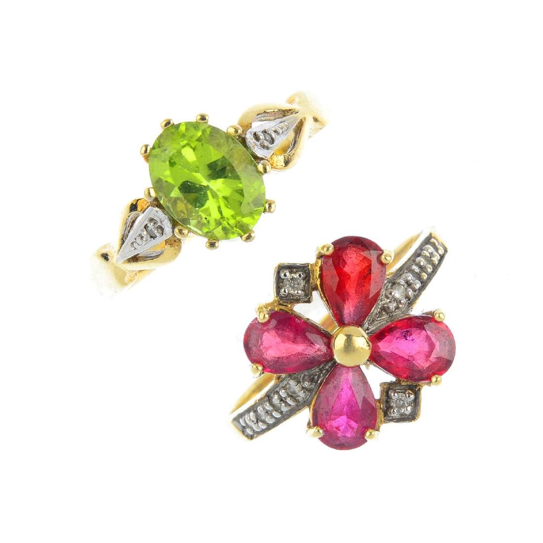 Three 9ct gold gem-set and diamond rings. To include an