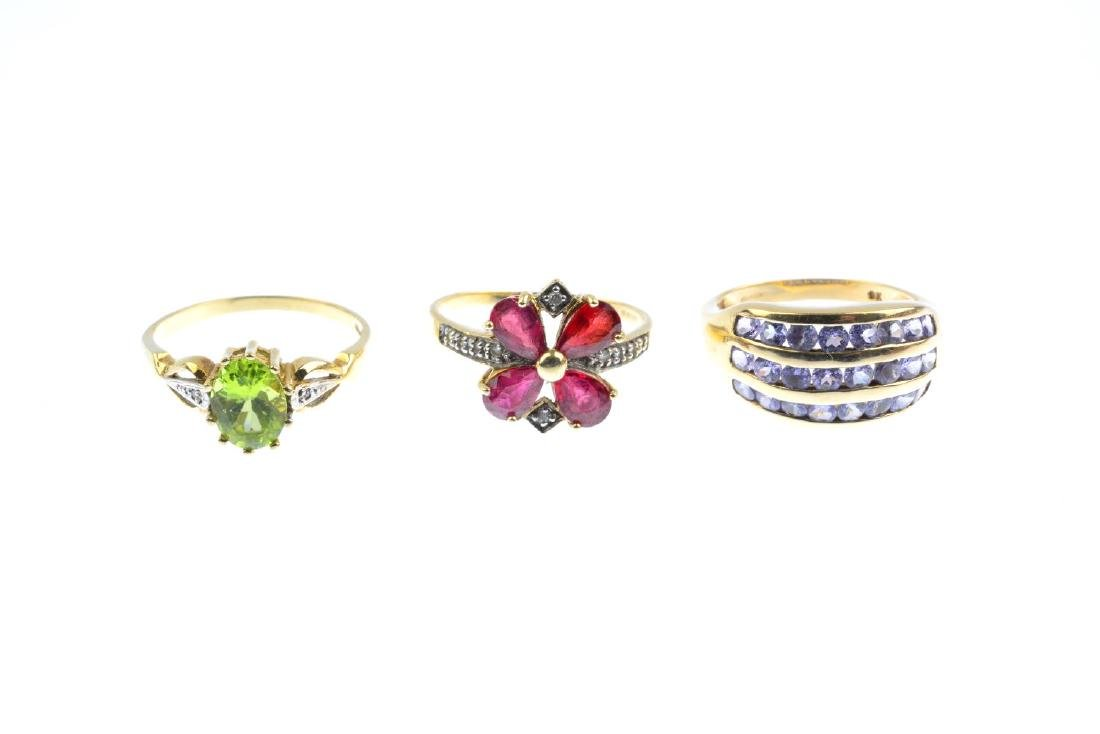 Three 9ct gold gem-set and diamond rings. To include an - 2