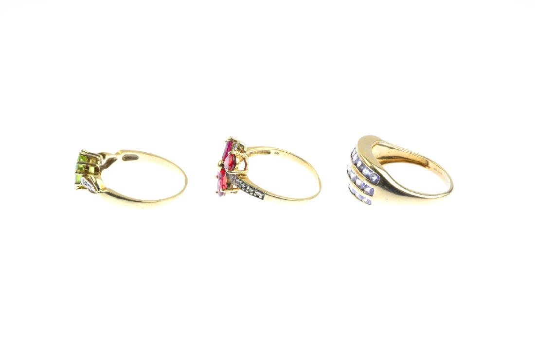 Three 9ct gold gem-set and diamond rings. To include an - 3