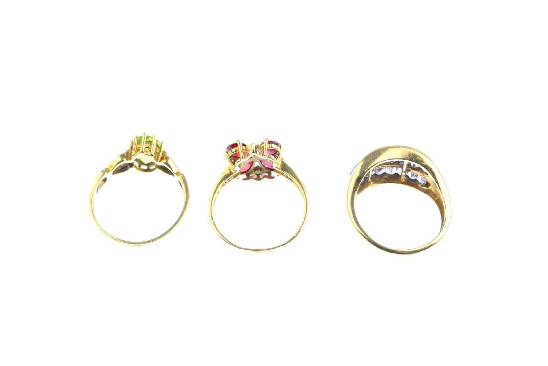 Three 9ct gold gem-set and diamond rings. To include an - 4