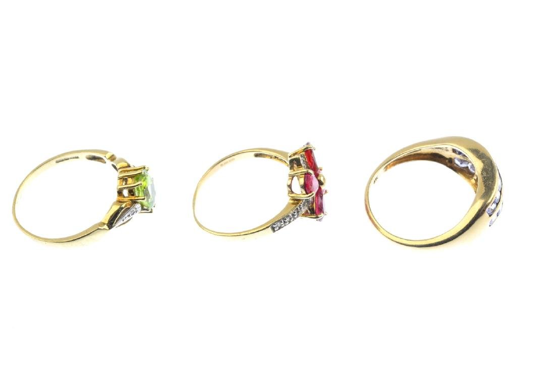 Three 9ct gold gem-set and diamond rings. To include an - 5