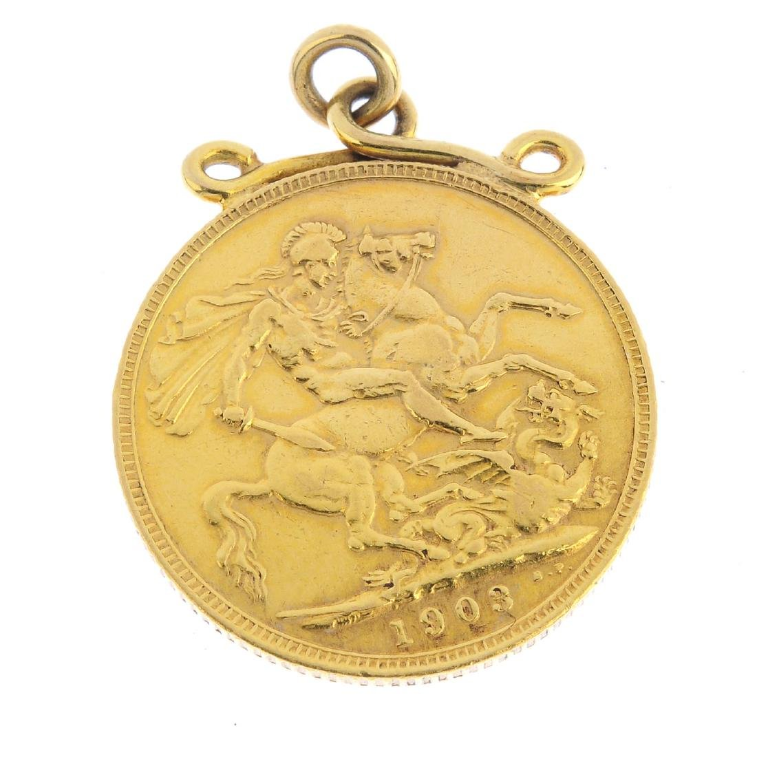 An Edward VII sovereign coin pendant. Dated 1903, with
