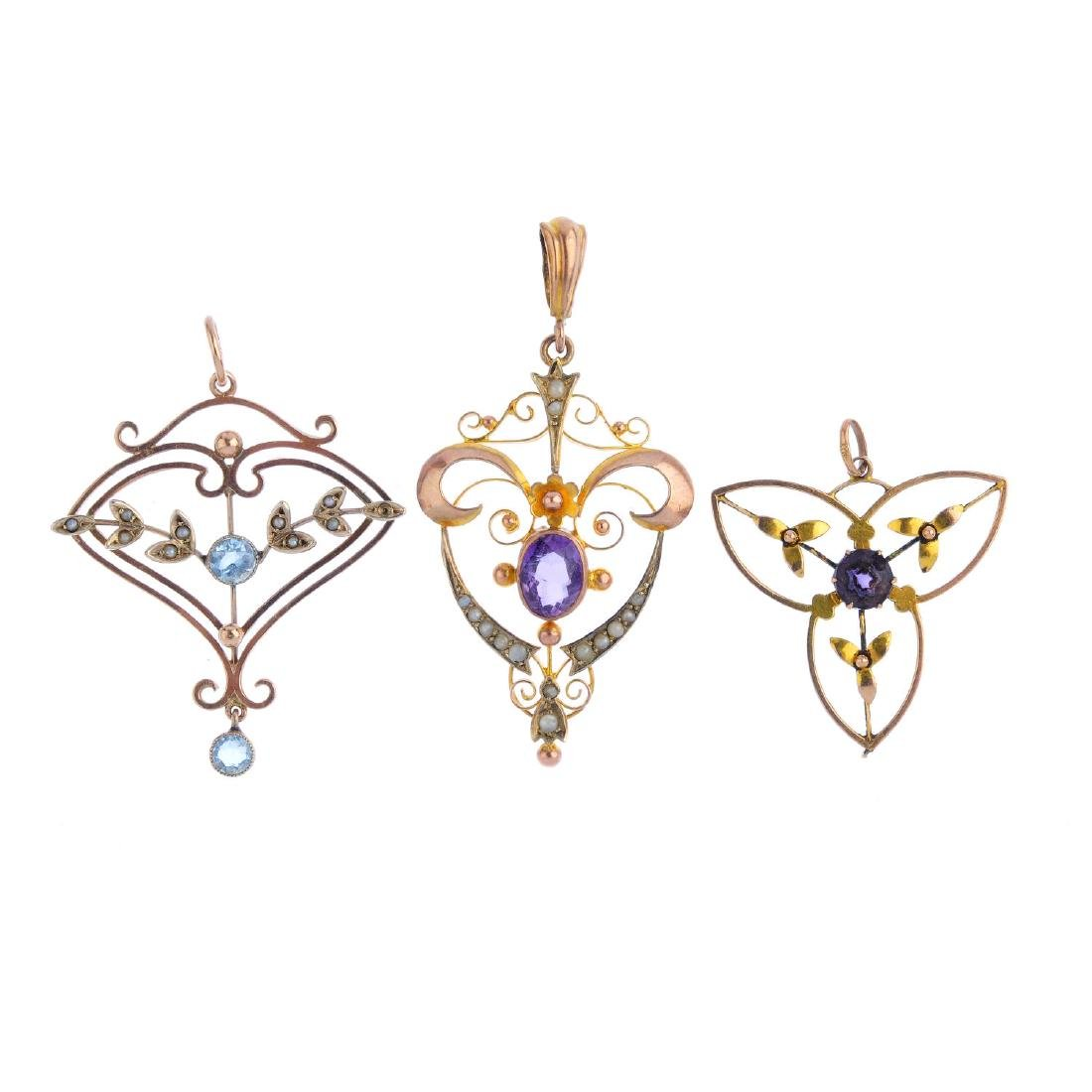 Three early 20th century gem-set pendants. To include
