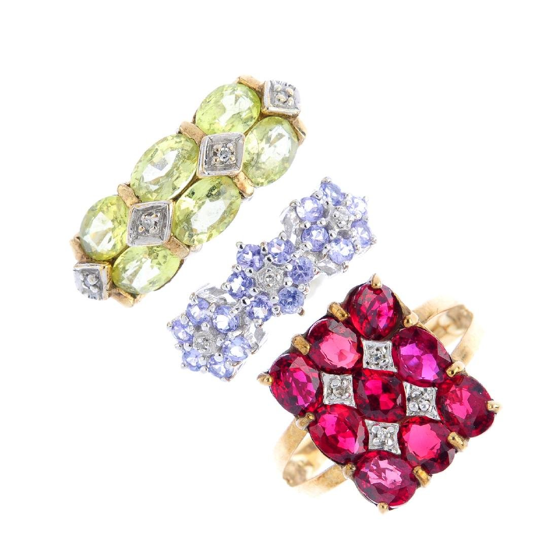 Three 9ct gold diamond and gem-set rings. To include, a